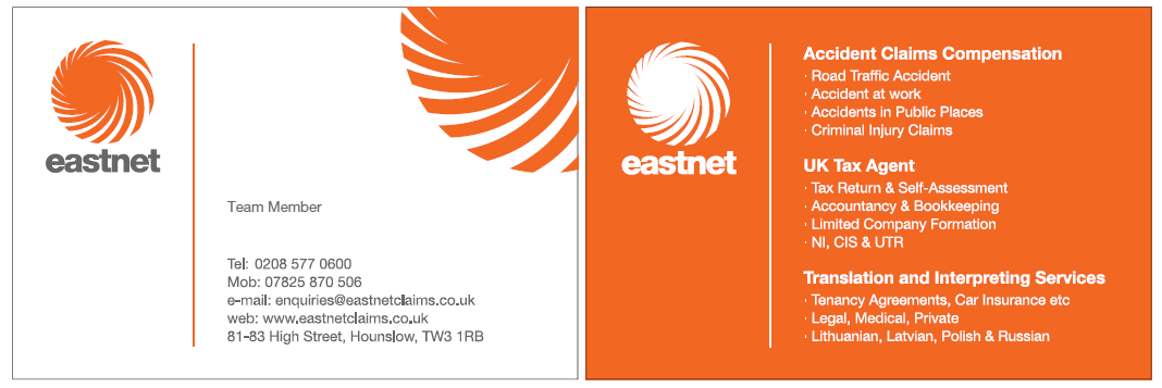 Eastnet Business card